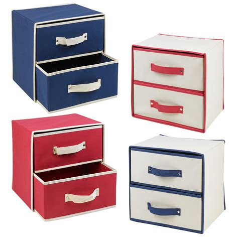 Fabric Drawer Storage by Collapsible Fabric 2 Drawer Storage Boxes Containers Bits