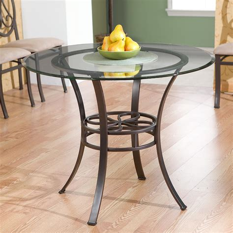 Glass Topped Kitchen Tables Southern Enterprises Lucianna Glass Top Dining Table Brown Finish Tables