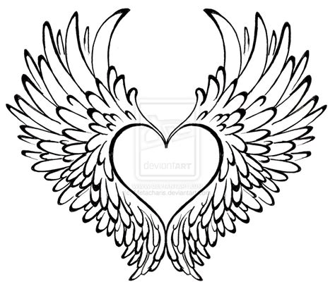 sketches of hearts with wings coloring pages