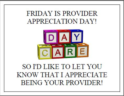 appreciation letter to daycare provider providers appreciation day coming soon