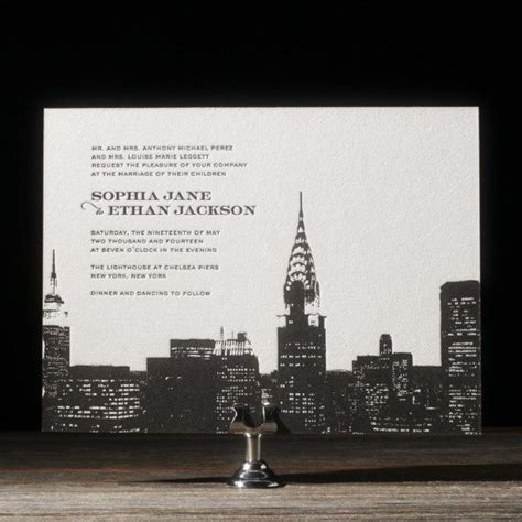new york city skyline wedding invitations charmed new york skyline invitations