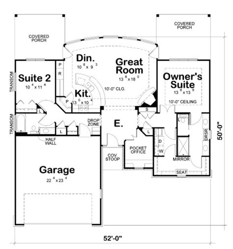 garage floor plans with bathroom craftsman style house plan 2 beds 2 baths 1436 sq ft