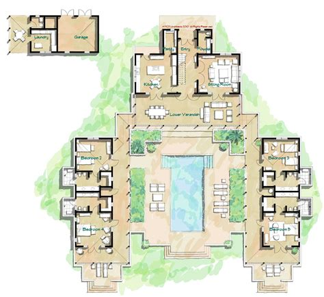 hacienda floor plans mcm design island house plan 9