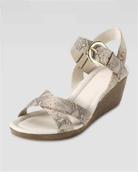 Sandal Wedges Tali Ldi 278 cole haan air tali low wedge snakeprint sandal in white white pine snake lyst