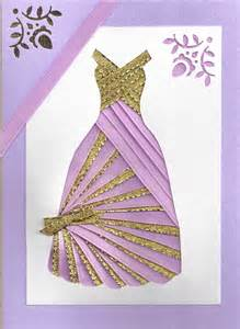 ribbon iris fold card dress in lilac and gold by