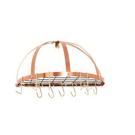 22 in x 11 in x 22 in satin copper pot rack