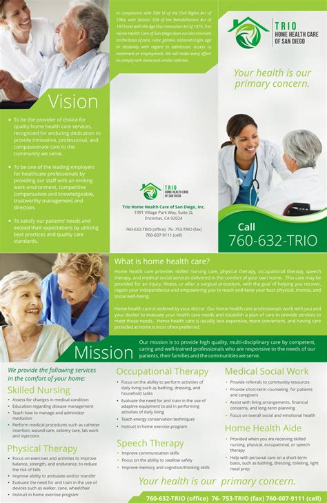 home health care brochure templates trio home health care of san diego needs a brochure to