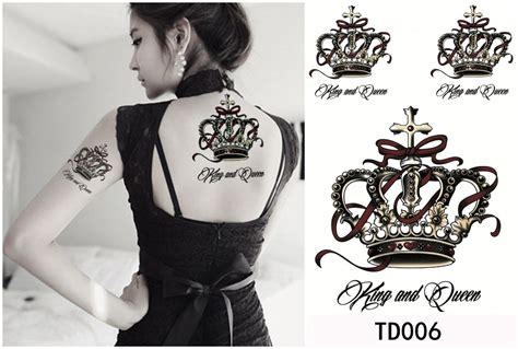 black queen tattoo black king crown on back models picture
