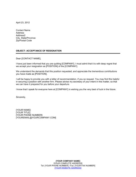 Business Letter Acceptance Of Resignation Acceptance Of Resignation Template Sle Form Biztree