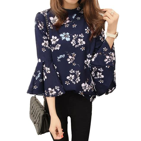 Floral Sleeve Chiffon Blouse 2016 autumn floral chiffon blouse tops flare sleeve