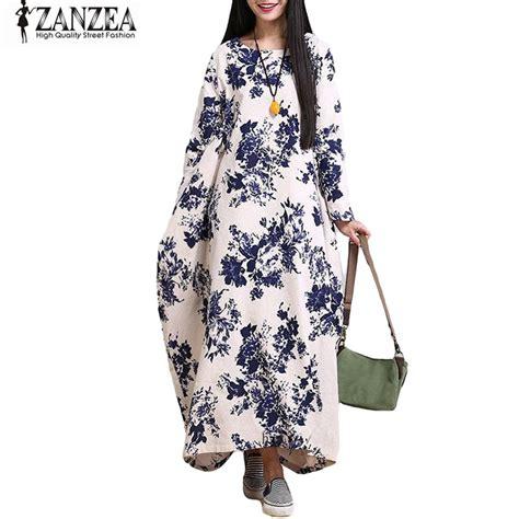 Flower Tunic Dress Jumbo zanzea oversized cotton linen floral baggy tunic maxi shirt dress kaftan in dresses