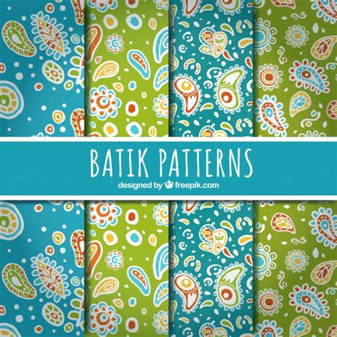 batik design style history abstract floral patterns in batik style vector free download
