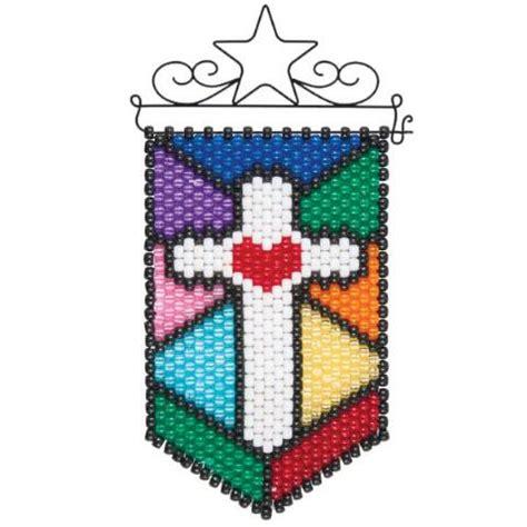 herrschners 174 stained glass cross mini beaded banner kit