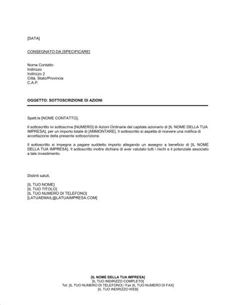 lettere commerciali italiano esempi lettera sottoscrizione di azioni modelli e esempi di