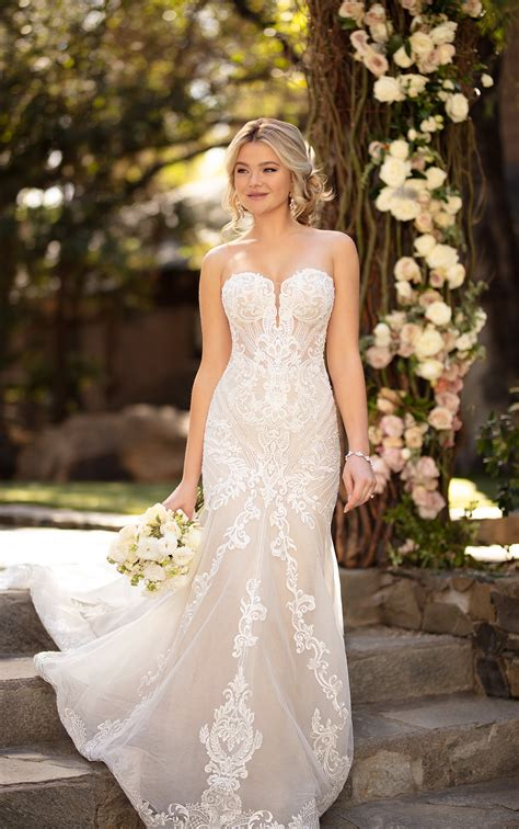 strapless sweetheart fit  flare wedding dress