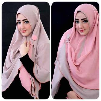 Perlengkapan Muslim Wanita Jilbab Segiempat Bolak Balik Trendy New jilbab instan bolak balik gratis bros elevenia