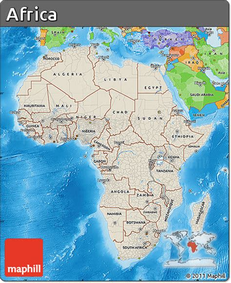 africa map sea free shaded relief map of africa political outside