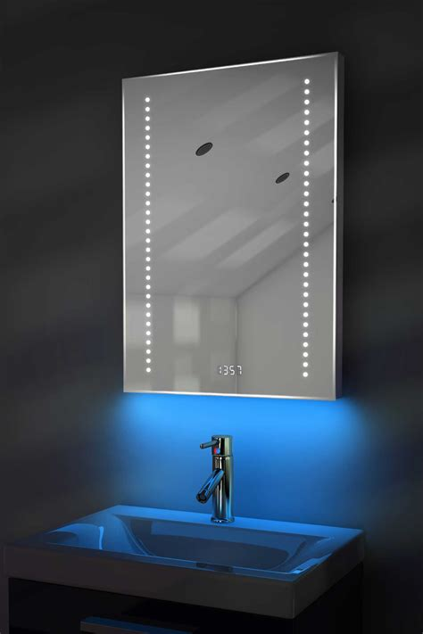 bathroom mirror with clock digital clock shaver bathroom mirror with under lighting