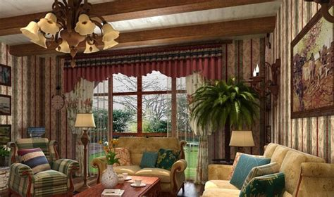 american country style house interior decorative wallpaper