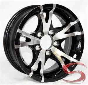 Truck Wheels Preview 15 Inch Viper Black Machined Aluminum 5 Bolt Trailer