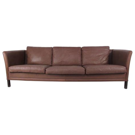 Impressive Mid Century Danish Modern Leather Sofa For Sale Leather Mid Century Modern Sofa