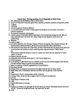 biography questions for teachers viewing questions a e biography of mark twain by