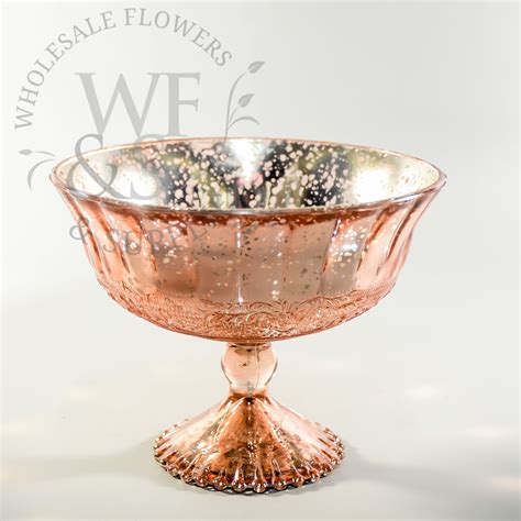 Silver Mercury Glass Vase Glass Pedestal Vase In Rose Gold Wholesale Flowers And