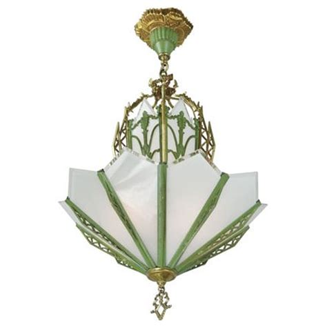 Green Chandelier Lighting Deco Chandelier Antique Circa 1935 Green Gold Frame Beveled Flat Glass Ant 424 For Sale