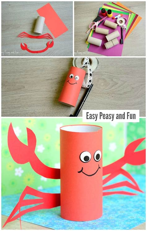 paper rolling craft paper roll crab craft easy peasy and