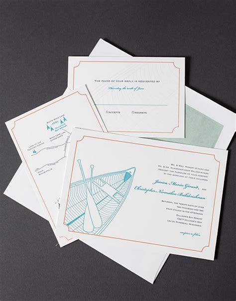 lake themed letterpress invite suite wedding invites stationery photos brides