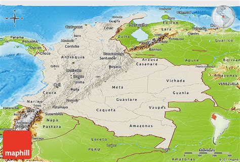 physical map of colombia shaded relief panoramic map of colombia physical outside