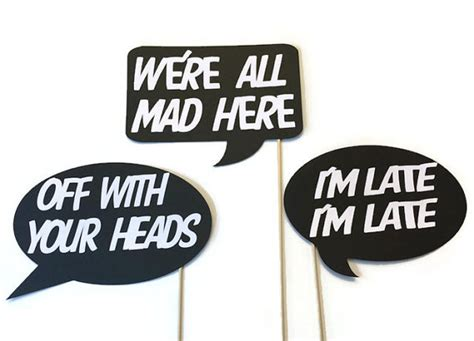 photo booth props printable sayings photo booth props alice and wonderland themed word bubbles
