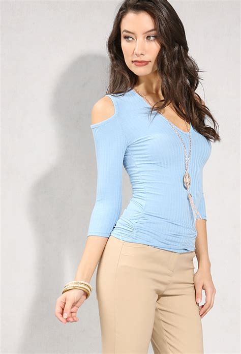 V Neck Shoulder Top ribbed v neck open shoulder top w necklace shop blouse shirts at papaya clothing