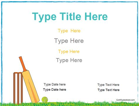 cricket certificate templates sports certificates award template for participation in