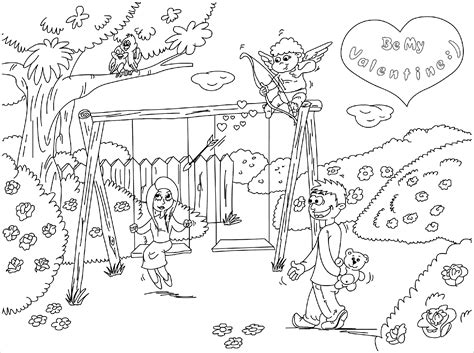 playground scene coloring page coloring pages