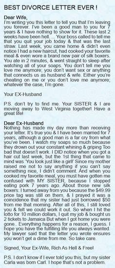 Divorce Letter To Abusive Husband 1000 Images About Divorce Humor On Divorce Humor After Divorce And Divorce