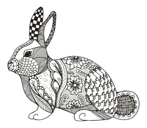 rabbit pattern drawing rabbit zentangle stylized stock vector illustration of