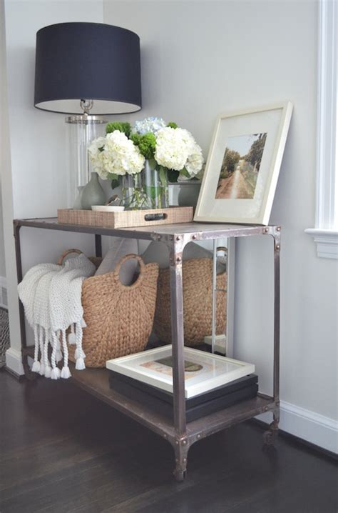 entry way table decor industrial console table transitional living room