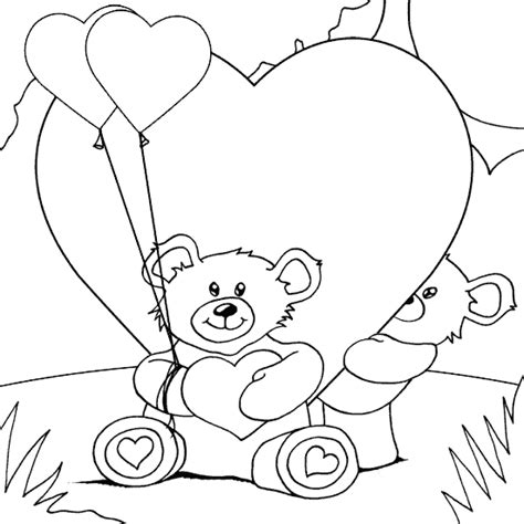 coloring pages of teddy bears with hearts teddy bears and hearts coloring page coloring com