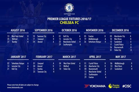 chelsea epl fixture chelsea india on twitter quot here are the 2016 17 chelsea s