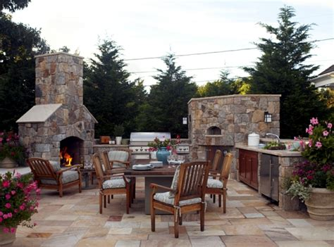 Kitchen Decorating Idea Stone Barbecue Fireplace The Highlight In The Garden