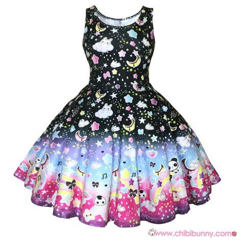 the rainbow black kawaii skater dress and