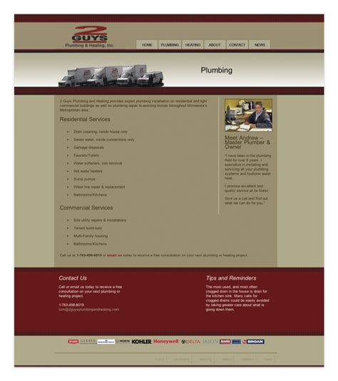 Plumbing And Heating Websites by 2 Guys Plumbing And Heating