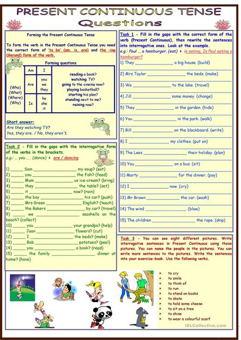 printable worksheets present continuous tense present continuous tense questions 4 pages 11 tasks
