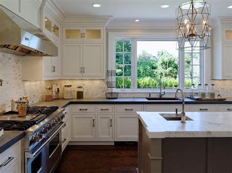 two tone kitchen cabinets white blue house stuff worlds away mariah pendant transitional kitchen blue