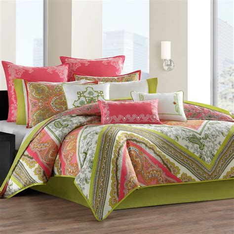 Set As Greeny coral colored comforter and bedding sets