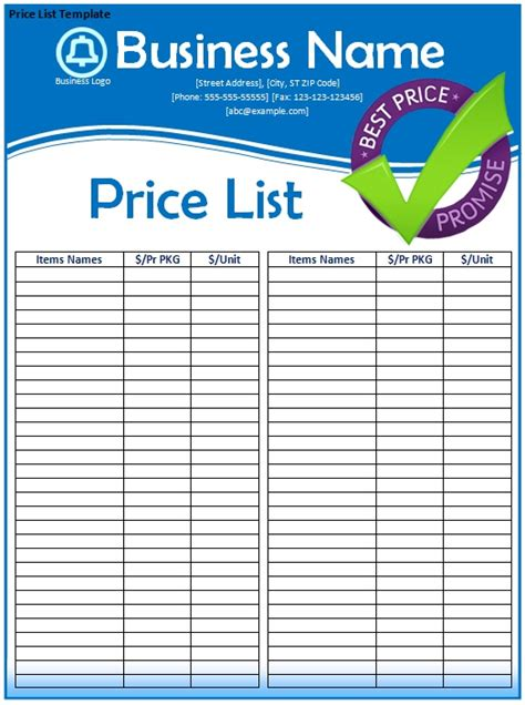 business price list template free price list template doliquid