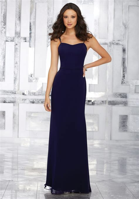 chiffon bridesmaids dress with beaded lace shoulder straps