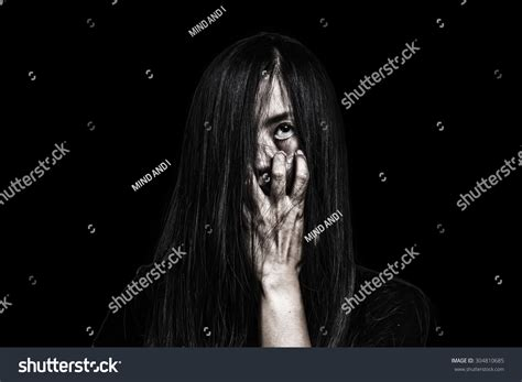 film ghost effect halloween themeghost girl horror isolated on stock photo
