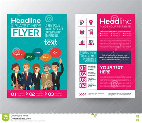 Brochure Flyer Template With Modern Business People Teamwork Concept Stock Vector Illustration Work Flyer Template